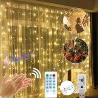 Christmas Window Tenda String Light 3 * 3m LED Fairy Lights Outdoor Music Control USB Power Garland Lampada Party Garden