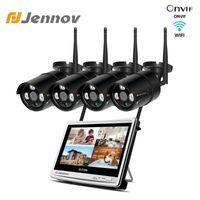 Sistemas Jennov 2MP 1080P CCTV Home Security Sem Fio WIFI WIFI WIFI Kit de Câmera Video Vigilância NVR 12 polegadas LCD Monitor IP 66 Câmeras1