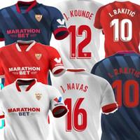 20 21 Sevilla J.Navas Home White Blue Red I.rakitic Mens Soccer Jerseys de Jong Nolito Rakitic Sevilla Chándal de Fútbol Football Shirt 2021