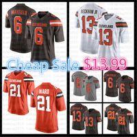 6 Baker Mayfield Jersey 13 Odell Beckham Jr 21 Denzel Ward Amerikan Futbolu Formaları Renk Rush Turuncu Beyaz