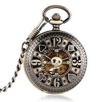 الساعات الجيب البرونزية ووتش الميكانيكية التلقائي فوب جوفاء الجمجمة بوكر نحت تصميم ساعة relogio دي bolso1