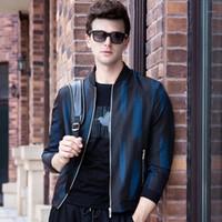 2019 осенние куртки бомбардировщики мужские стойки воротник молния вверх по полоску повседневные куртки пальто высокого качества мужская верхняя одежда m-3xl q61961