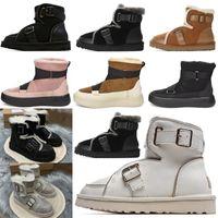 2020 Diseñador Mujeres Australia Botas Australianas Mujeres Invierno Piel de nieve Furry Satin Boot Botines Botines de piel de piel de cuero al aire libre #op