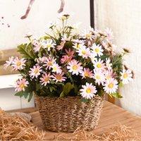 Flores decorativas grinaldas 24 cabeças / bouquet primavera adorável margarida samll samll sunflower festa casa decoração PO adereços crisântem artificiais