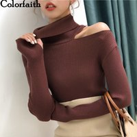 Colorfaith 2020 Women Pullover Sweater Knitted Autumn Winter Turtleneck Sexy Hollow Out Off Shoulder Casual Female Jumpers SW755 A1107