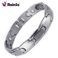 Bracelets de charme Rainso Soins de santé à la mode Bangles de titane magnétiques pour hommes Bio Energy Healing Hologram Hologram Link Bracelets1