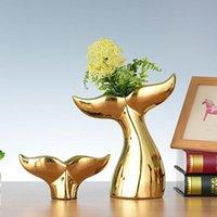Nordic Gold Whale Queue Figurine Modèle Creative Resine Animal Crafts Desk Ornement Office de bureau Décor Accueil Décoration Accessoires