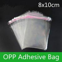 1000pcs 8 * 10cm auto-adhésif clair OPP / Poly bijoux sac transparent OPP sac d'emballage en plastique sac cadeau refermable cadeau Pouch