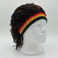 Vsllwq chapéu engraçado unisex beanies peruca chapéus chapéus jamaicanos de malha Rasta cap cabel e mulheres moda hairband dreadlocks1