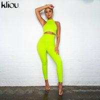 Kliou 2019 Solid Neon Color 2 Piezas Set Mujer Fitness Flacny High Cintura Leggings Traje Cultivo Top con Almohadillas Sportswear Traje T200825
