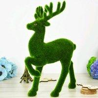 Flores decorativas guirnaldas creativa artificial hierba reno césped pequeño lindo animales navidad falso ciervo musgo piedra piedra mesa di