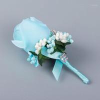 Dekorative Blumen Kränze DIY Künstliche Rose Blume Männer Elfenbein Seidenbrosche Dekoration Handgelenk Hand Corsage S1
