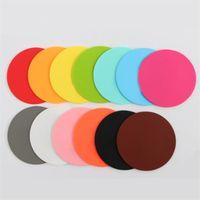 10см силиконовые присталки не скользко Кубок коврик гладкий с круглым круглым столом коврик теплоизоляционная кружка держатель многоцветных многоцветных