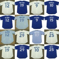 Toronto Blue Roberto Alomar Paul Molitor JOE CARTER PAT FRONTIERES John Olerud SHAWN GREEN DEVON WHITE Throwback Baseball Jersey