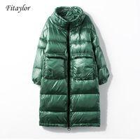 Fitaylor novo jaqueta de inverno mulheres para baixo casaco feminino grosso branco pato para baixo jaqueta mulheres longas casacos quentes roupas1