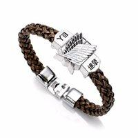 Nouvelle mode Anime Attack Titan Charm Charm Sharmi No Kyojin Cosplay Bracelet de bracelets en cuir unisexe