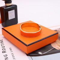 Forma de aço inoxidável pulseira de aço mulheres homens esmalte pulgles jóias rosa ouro prata h carta braceletes amor pulseira com saco de veludo original