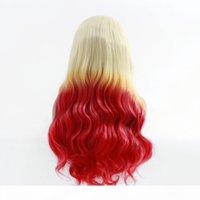 Natural Long Body Wave Tre Toni Color Colore Resistente al calore Sintetica Parrucche anteriori in pizzo Cosplay Party Trucco Parrucche sintetiche per le donne