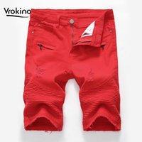 Vrokino 2019 verão novo estilo homens lazer shorts jeans moda de alta qualidade vermelho buraco negro cowboy shorts dropshipping 38 40 421
