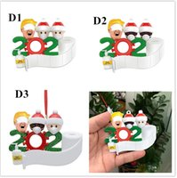 Fashion Christmas Ornaments Quarantine Customized PVC Personalisierte Familie von 5 Ornament Pandemie mit Gesichtsmasken Hand Sanitized E101201