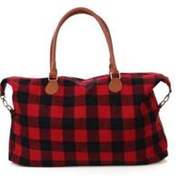 Черный Buffalo Plaid сумка для выходных поездок для отдыха Weekender Ночи сумка Totes вещевой сумки KKA8278