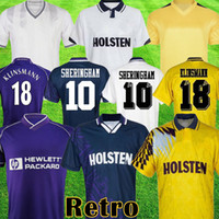 1982 1990 1994 1995 1995 1998 1999 레트로 축구 유니폼 토트넘 키트 Klinsmann Gascoigne Anderton Sheringham Ginola 빈티지 축구 셔츠