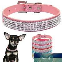 XS / S / M / L collares del Rhinestone de Bling collares de perro de la PU del animal doméstico de cuero collar de cristal de diamante perrito del animal doméstico y correas para los accesorios del perro