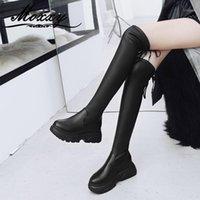 Moxxy Sıcak Kürk Kış Çizmeler Kadın 2020 Moda Uzun Siyah Seksi Diz Çizmeleri Üzerinde Kadın Ayakkabı Gotik Platformu Uyluk High1