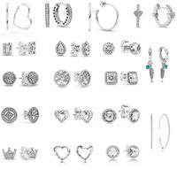 2020 Nuovo autentico 925 orecchini di cerchio del cuore argento sterling 925 per le donne Sparkling Quadrato dell'orecchino del quadrato Gioielli fai da te Spedizione gratuita