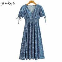 Partykleider Yenkye Vintage Blau Blumendruck Kleid Frauen Kurzarm Vestido Mujer Elastische Taille A-Linie Midi Urlaub Sommer
