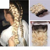 8a ombre блондинки человеческие волосы 360 кружевной полосы Frontal с регулируемым ремешком 22.5x4x2 '' два тона 1b 613 блондинка кузовной волна кружева лоб