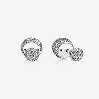 مجوهرات كامل CZ الماس تمهيد الكرة القرط مربط حزب المرأة جميلة مع مربع لريال مدريد مجموعة 925 أقراط فضية