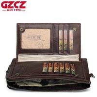 GZCZ 2020 Men'S Genuine Leather Wallet Vintage Long Wallet Handy Male Purse Men Handy Coin Purse Cell Phone Pocket PORTFOLIO MAN