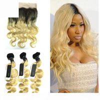 OMBRE 1B 613 Wave Body Wave Weave Weaves con cierre frontal de encaje pre-arrancado de 360 con paquetes Dark Roots Rubia Ombre Virgin Hair