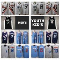 2021 Herren Jugend Kinder Kawhi Leonard 2 Swingman Jersey City Los Angele Edition Nähed Paul 13 George Youth Basketball Trikots mit Logo Tags