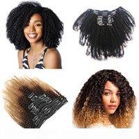 Venda quente Afro Kinky Curly Clipe em Extensão de Cabelo 4B 4C 120G PC 100% Real Cabelo Humano OMBRE 1B 4 27 Fábrica Direta