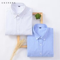 Ushark Chemise à rayures Hommes Manches longue Manches Formelle Business Mens Hommes Chemises Vêtements de bureau 100% coton Oxford Slim Fit bouton bouton Collier Q1231