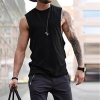 Mens Sleeveless T Shirts Solid Color Loose Spring Summer Cas...
