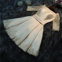 Doode 2019 Neue Satin Champagner Kurzes Abendkleid Eleganter Bootshals aus der Schulter Lace Up Abschlussball Abend Soiree L1