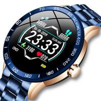الصلب الفرقة الذكية ووتش الرجال معدل ضربات القلب مراقبة ضغط الدم الرياضة الذكية معصمه متعددة الوظائف وضع اللياقة تعقب ماء smartwatch