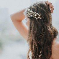 Невеста свадьба ручной работы жемчужный гребень формы образца листьев свадебные волосы аксессуары женщины головной убор оптом