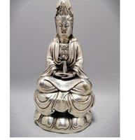 아름 다운 흰 구리, 티벳은 관음, 자유 불교의 절묘한 기술 동상