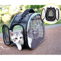 Bolsa de gato transparente portátil transportista mascota plegable exterior perro mochila gato transporte espacio portador viaje hombro 1