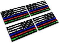 creatrill 반사 분할 된 얇은 파란색 빨간색 녹색 라인 매트 블랙 쌍 x 미국 미국 국기 자동차에 대 한 전사 스티커,