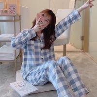 2 Adet Ekose Kadın Pijama Setleri Uzun Kollu Pijama Kadın Turn-Down Yaka Pijama Gecelik Gecelikler Rahat Homewear Top + Pantolon Pijama W1225