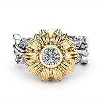 Hochzeit Ringe Kristall Weibliche Sonnenblume Verlobungsring Niedlichen Luxus Silber Farbe Liebe Schmuck Versprechen Zirkon Stein Für Frauen1