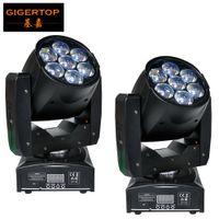 Freeshipping 2PCS Профессиональный LED ZOOM Wash Свет / Beam Moving Head Light 7X12w Освещение сцены RGBW 4в1 Sound Control 90V-240V