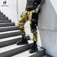 Novela ideas moda hombres camuflaje alta cintura hiphop rosa camo jogger jogger danza pantalón somos tamaño y200114