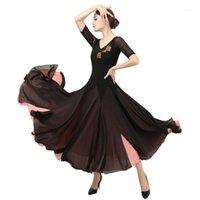 Ropa de escenario Mujeres Floral Flamenco Waltz Tango Danza Baile Vestidos de competición Foxtrot Patrones de vestir estándar1