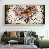 Modern Abstract Canvas Oil Painting Colorful Heart Flowers P...